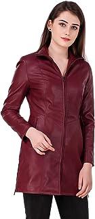 Leather Retail® Cherry colour Woman's Faux Leather Long Jacket