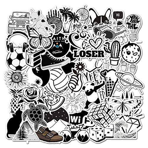 Vsco Water Bottle Laptop Stickers,Big 50-Pack Cute Cartoon Aesthetic Trendy Stickers for Teens,Girls,Kids Perfect for Waterbottle Laptop Phone Travel Extra Durable 100% Vinyl (Black & White)