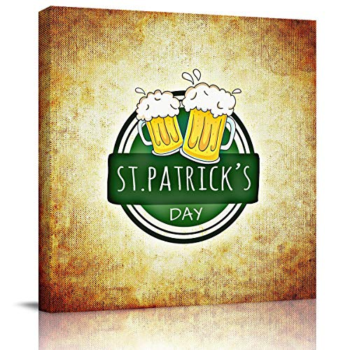 Canvas Prints Wall Art St.Patrick's Day Retro Desifn Cheer Beer Paintings for Home Modern Gallery Wall Decor, Picture Stretched Framed,Ready to Hang 8x8in