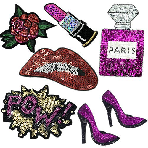 7 Pcs Purple Blue Embroidered Patches Lip/Lipstick Iron On Patch Sewing On Sequins DIY Clothes Applique Garment Motif Woman Girl Brand Patch (Purple)