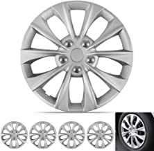 BDK Silver Hubcaps Wheel Covers (16 inch) – Four (4) Pieces Corrosion-Free & Sturdy – Full Heat & Impact Resistant Grade – OEM Replacement