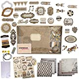 PICKME's D.I.Y Vintage Scrapbook Kits for Adults & Kids, Hardcover Coil-Bound Scrapbook Album Including Stationery Set with Gold Embossed Stickers, Ribbons & Journaling Supplies. (7.5' x 8', 100Pc)