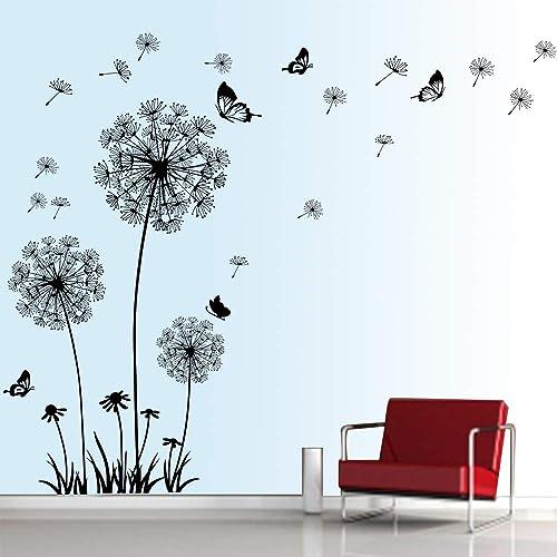 Fashion DIY Decal Dandelion Wall Stickers Adhesive Floral Wallpaper KV