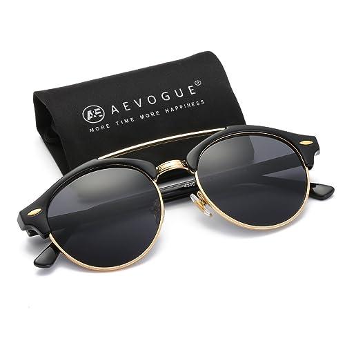 0474b16f006 AEVOGUE Polarized Sunglasses Mens Semi-Rimless Retro Unisex Glasses AE0504