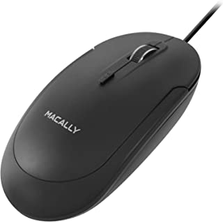 Macally Silent USB Mouse Wired for Apple Mac or Windows PC Laptop/Desktop Computer - Slim & Compact Mice Design with Optical Sensor and DPI Switch 800/1200/1600/2400 - Small for Easy Travel (Black)