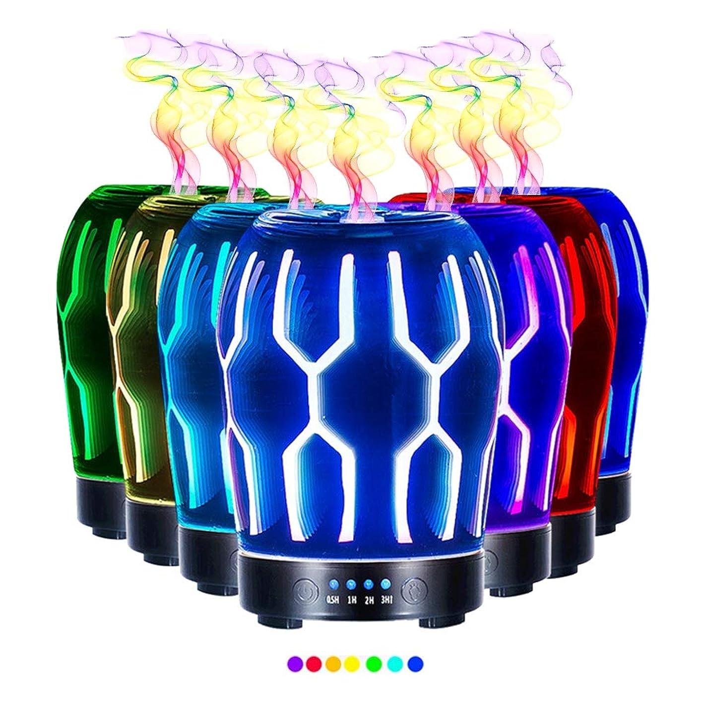 ボランティア再びティーンエイジャーエッセンシャルオイル用ディフューザー (100ml)-クリエイティブガラスハッカーマトリックスアロマ加湿器7色の変更 LED ライト & 4 タイマー設定、水なしの自動シャットオフ