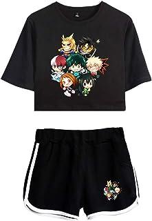 Kewing Boku No Hero Academia Crop Top T-Shirt Shorts Suit Bakugou Katsuki Midoriya Izuku Deku Todoroki Shoto Set Due Pezzi...