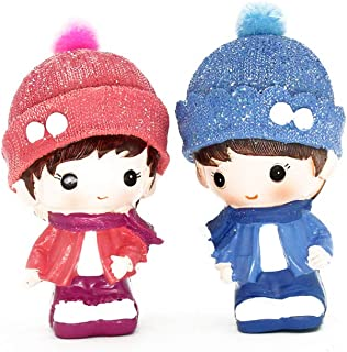Creative Cute Boy and Girl Toys Figurines Cake Topper, Dashboard Decorations Car Home Office Ornaments Best Birthday Holiday Gift(a pair)