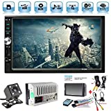 Car Rear View Camera + Ewalite 7' inch Double Din Touchscreen In Dash Stereo Car Receiver Audio Video Player Bluetooth FM Radio Mp3 MP5 / TF / USB / AUX / Steering wheel controls + Remote Control