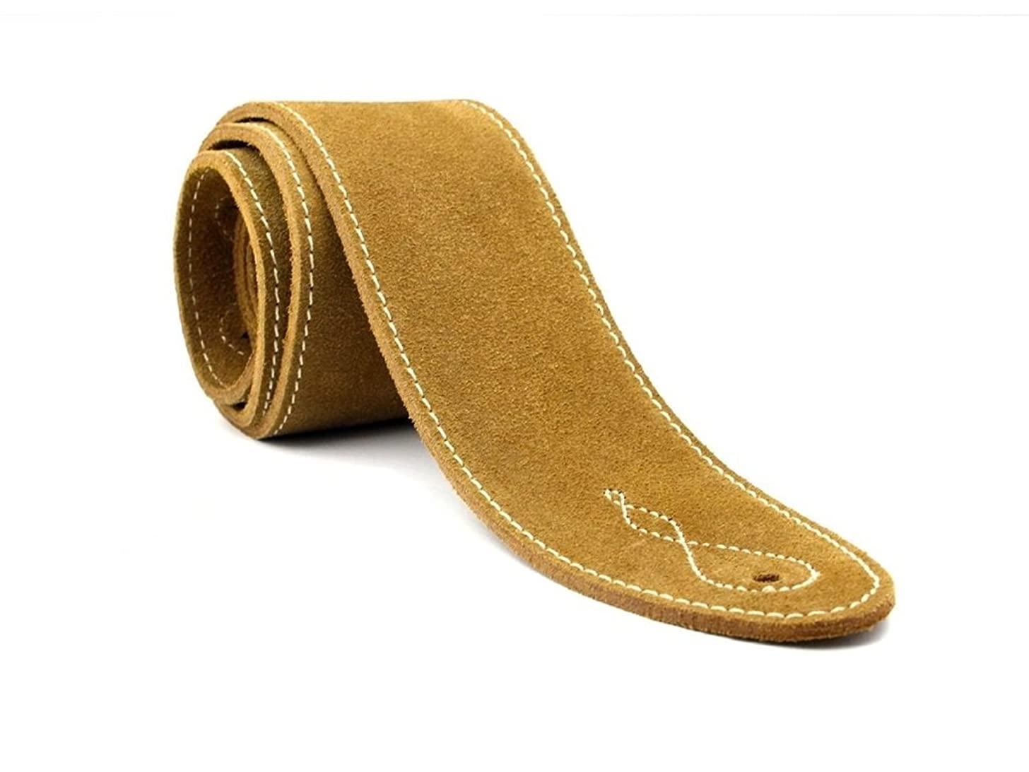 LeatherGraft Natural Beige Genuine Suede Style 2.5 Inch Wide Guitar Strap - Suitable for All Electric, Acoustic, Classical & Bass Guitars