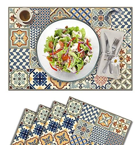 Vilber, juego de 4 manteles individuales Vinilo (30,5x45,6x0,22 cm), Antimanchas, Antideslizantes y resistentes al calor. Combinables con caminos de mesa y alfombras. TOLEDO 01