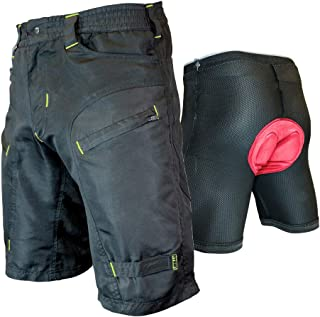 Urban Cycling Apparel The Single Tracker - Mountain Bike MTB Baggy Shorts with Zip Pockets, Bundle with underliner