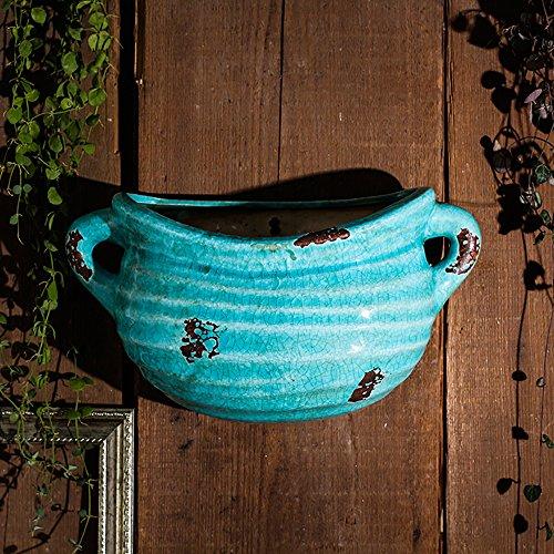 Sungmor Ice-Crack Geglazuurde Keramische Plant Potten, Hoge kwaliteit Multi-kleur Opknoping Planter, Muur & Hek Decor Bloempotten Binaural(33cmL*11cmW*15cmH) Blauw