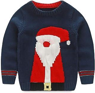 baohooya Felpe Bambino Natale 2-11 Anni Bimba Ragazze E Ragazzi Maglietta Manica Lunga Caldo Addensare Natalizio Pullover Maglioni Guanti Stampa Felpa T-Shirt Cime