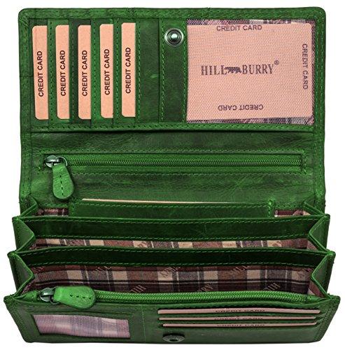 Hill Burry Leder Geldbörse | echtes Vintage Leder - XXL weiches Portemonnaie RFID (Grün)