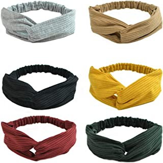 MHDGG Headbands for Women Knotted Headbands Stretchy Hair Bands Criss Cross Turban Headbands for Women Wide Headbands for Women Hairband Hair Hoops Hair Accessories,6 Pack