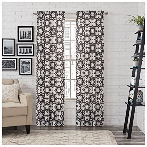 """Pairs to Go Curtains for Bedroom - Udall 56"""" x 84"""" Decorative Double Panel Rod Pocket Window Treatment Privacy Curtain Pair for Living Room, Black"""