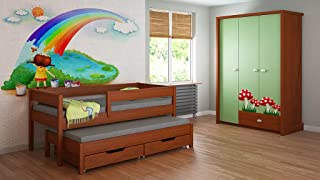 Trundle Bed For Kids Children Juniors with Foam Mattress but Drawers  160x80  Palisander