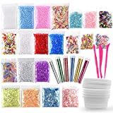 Fepito 35 Lot kit de fabrication de Slime Slime Fournitures Y Compris Aquarium, perles, balles en mousse, paillettes, Confetti, boîtes de rangement, outils de Slime pour DIY Craft Homemade Slime