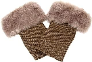 Abberrki Women Winter Faux Fur Boot Cuff Crochet Knit Boots Socks Short Leg Warmers
