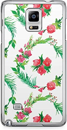 Floral Samsung Note 4 Transparent Edge Case - White and Green