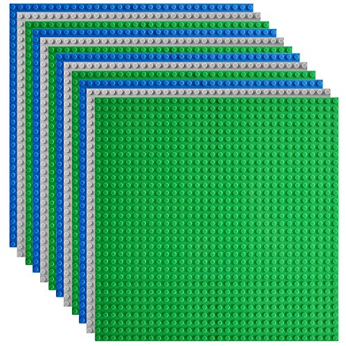 Lekebaby Classic Baseplates Building Base Plates for Building Bricks 100% Compatible with Major Brands-Baseplates 10' x 10', Pack of 12
