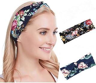 Ushiny - Cerchietto per capelli in stile boho, con motivo a nodo, con stampa a spirale, accessorio per donne e ragazze (2 ...
