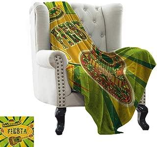 BelleAckerman Warm Blanket Fiesta,Colorful Latino Elements Sombrero Maracas Guitar Geometric Background,Green Mustard Vermilion Microfiber All Season Blanket for Bed or Couch Multicolor 30