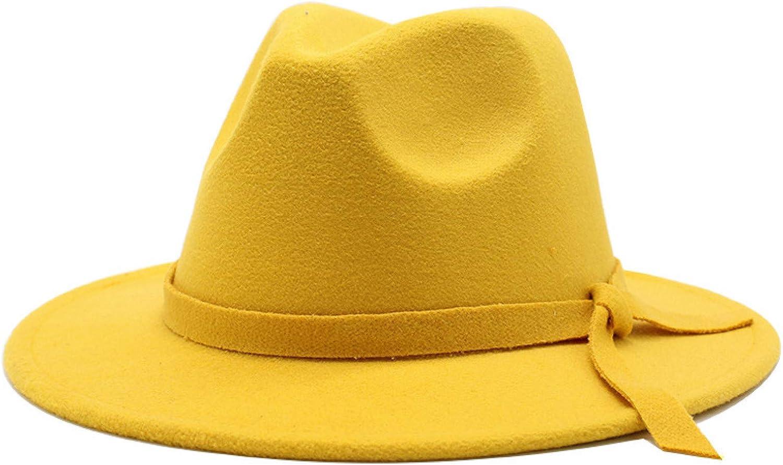 BAJIE Fedora New Winter Hat Ladies Solid Color Wool Felt Wide Brim Jazz Hat Retro Yellow Jazz Hat 56-60Cm