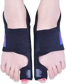 Bunion Corrector by Quanquer [Pair] - Bunion Splint Toe Straightener Brace for Hallux Valgus Pain Relief Fits Men & Women (Black)