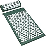 ACUPRESSURE MASSAGE MAT AND NECK PILLOW (GREEN) — Provides thousands of stimulation points, for immediate back pain relief it also improves sleep, relieves stress, aches, pains, muscle tension, Blood Circulation and energy levels GREAT FOR HEALING —T...