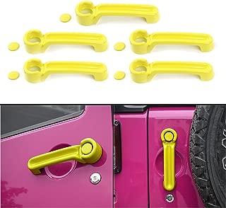 ABS Car Door Grab Handle Inserts Cover Trim for Jeep Wrangler JK JKU Unlimited Sahara Rubicon 4 Door 2007-2017 (Yellow)