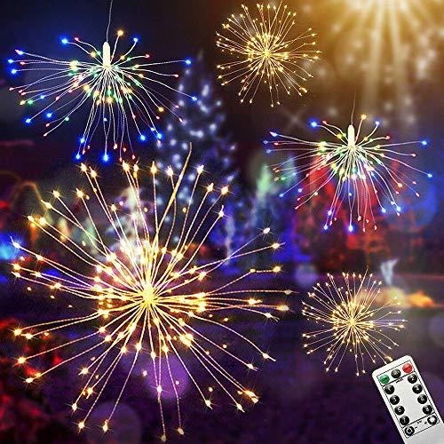 Turbobm 80/120 LEDs Feuerwerk LED Lichterkette, 8 Modi Fernlichterketten, Weihnachtslicht im Freien, Batteriebetriebene Lichter Party Decor Xmas
