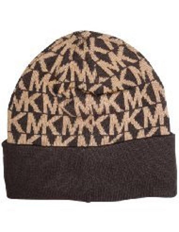 Michael Kors (マイケルコース)ニット帽子ブラウン/キャメルMKロゴ