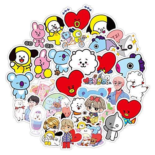 ALTcompluser Kpop BTS Bangtan Boys Stickers Wasserdicht Aufkleber Vinyl Aufkleber für Laptop, Macbook, Gepäck, Skateboard (60 Stücke)