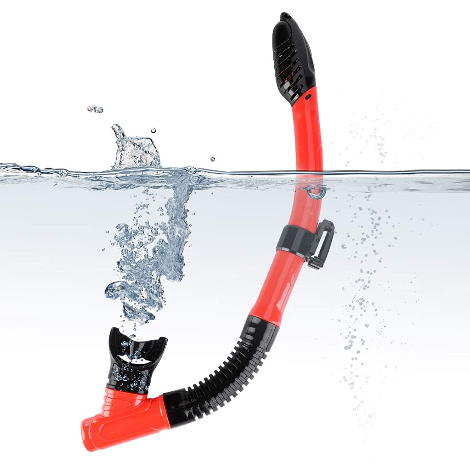 三無条件ウルルシュノーケルドライ シュノーケルチューブ シリコーン 水泳 ダイビング 通気性チューブ シュノーケリング用 赤