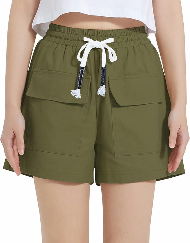 VtuAOL Women's Elastic Waist Cargo Shorts Comfy Cotton Loose Fit Shorts