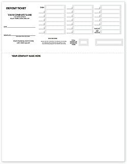 CheckSimple Laser Deposit Slips - Deposit Tickets Compatible with QuickBooks & Quicken (100 Qty) - Custom