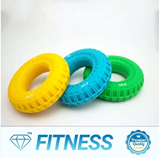 Diamond Power Hand Grip Strengthener - Pack of 3 - Bigger and Stronger - Strengthens Fingers, Wrists and Forearms - Best for Climbing, Golf & Tennis Grip Power - Restore Strength (Yellow Blue Green)