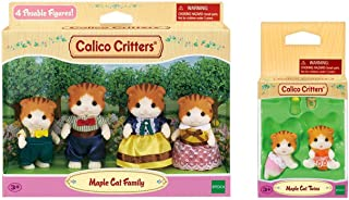Calico Critters Maple Cat Family with Maple Cat Twins Bundle
