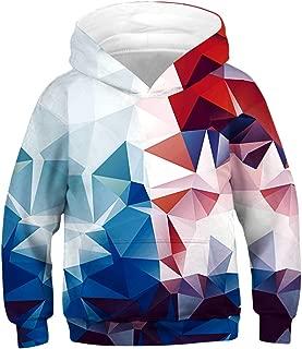 Unisex Kids Hooded Realistic 3D Diamond Digital Print Sweatshirt Baseball Jersey for Boys Girls