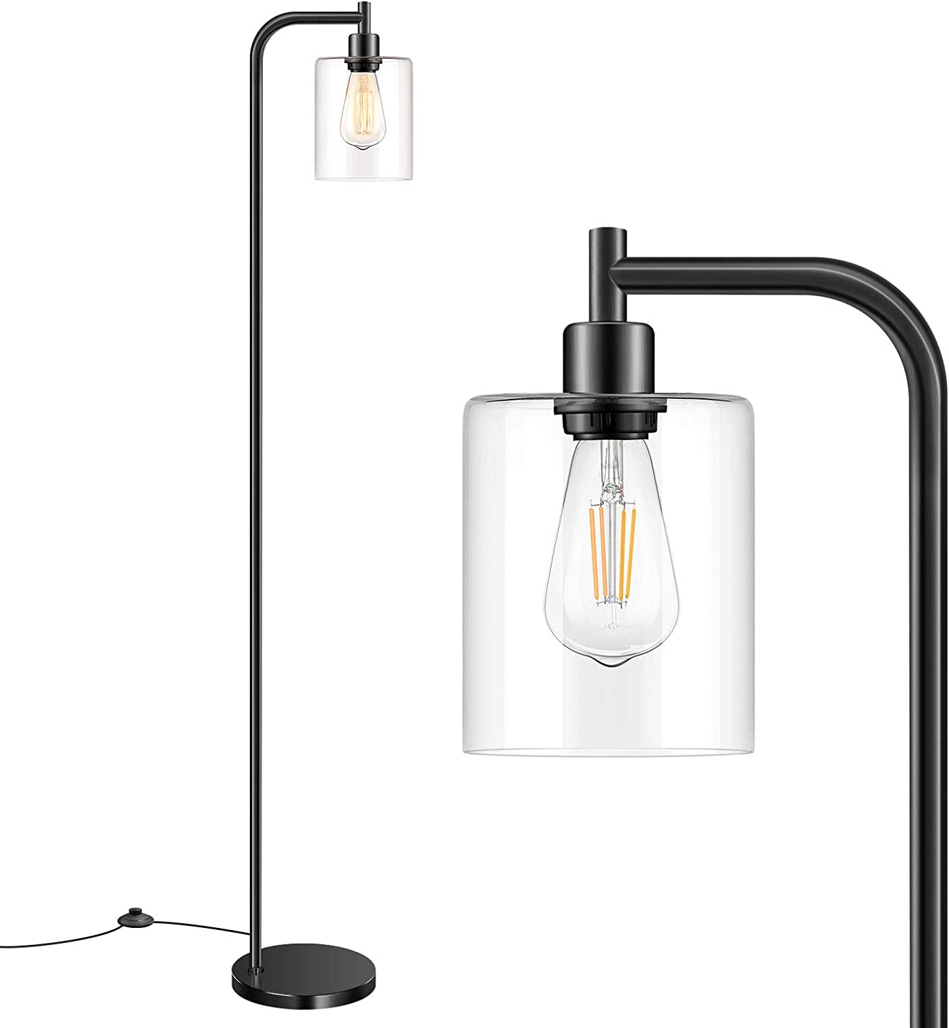 Industrial Floor Lamp with Hanging New Challenge the lowest price of Japan ☆ products world's highest quality popular Black Glass Farmhouse I Shade