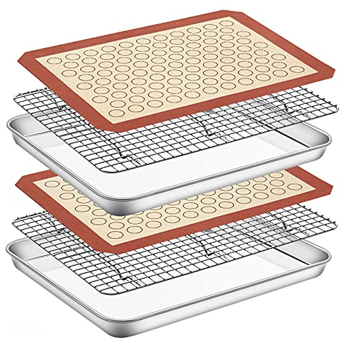 Baking Sheet Set of 6 (2 Sheet + 2 Racks + 2 Mats), Paincco Stainless Steel Cookie Pan Tray with Cooling Rack & Silicone Mat - Size 16 x 12 x 1 Inch, Oven Safe & Non Toxic & Easy Clean