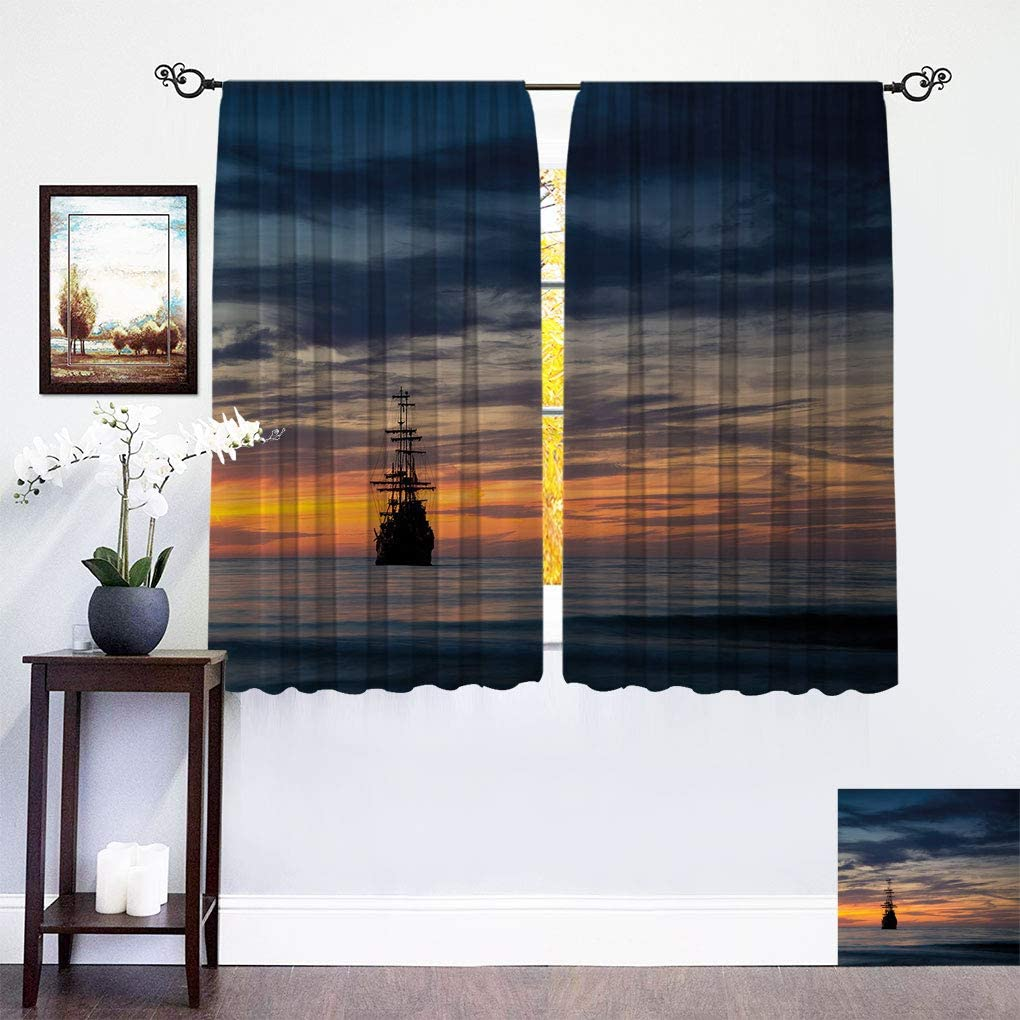 Hualidecor Pirate Ship Curtains Challenge the lowest price of Japan ☆ Old Sailboat in Majestic Sunset Ranking TOP12