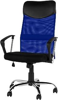 オーエスジェイ(OSJ) メッシュオフィスチェア 上下左右可動式 肘掛け付き ハイバック (ブルー) 660*660*1080~1180mm PP009994DAA