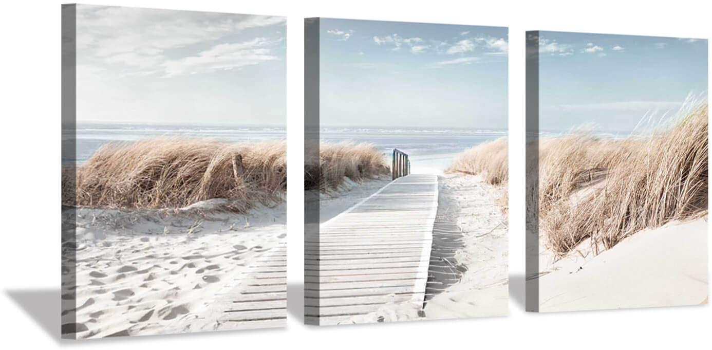 Coastal Beach Canvas Wall Art: Pathway to Shoreline Artwork Painting on Canvas for Office or Bedroom (16'' x 12'' x 3 Panels)