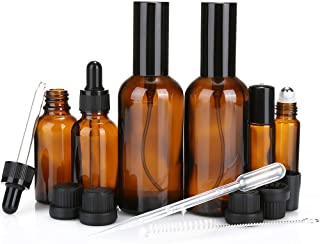 6 Pack Amber Glass Bottle Kits - 2 Pack 3.5 oz Spray Bottles 2 Pack 1 oz Dropper Bottles 2 Pack 10ml Roller Bottles for Essential Oils or Cleaning Agent Well-packed
