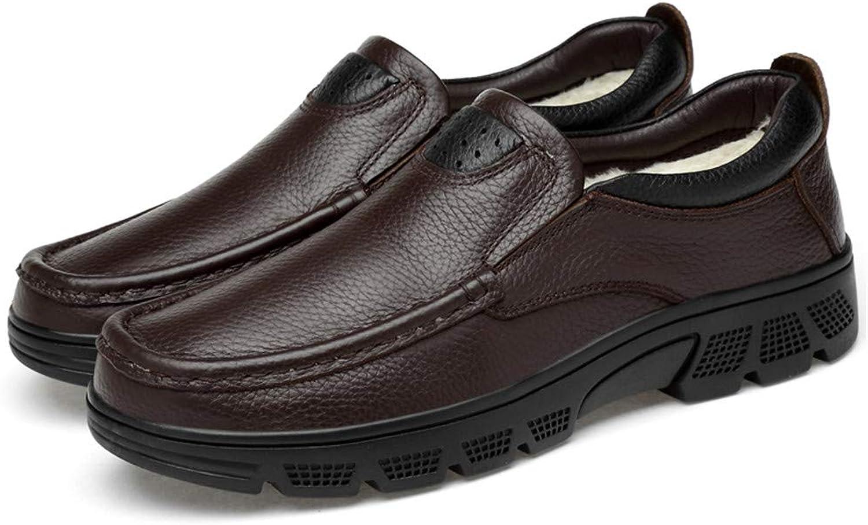 shoes Men Men's Fashion Oxford Casual Classic Low Top Comfortable Big Size Formal shoes(Warm Velvet Optional) (color   Warm Brown, Size   10.5 D(M) US)