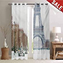 Hengshu Winter Drapes for Living Room Eiffel Tower in Snow Outdoors Champ de Mars Tourist Attraction Paris France Window Curtain Fabric W84 x L108 Inch White Brown Green
