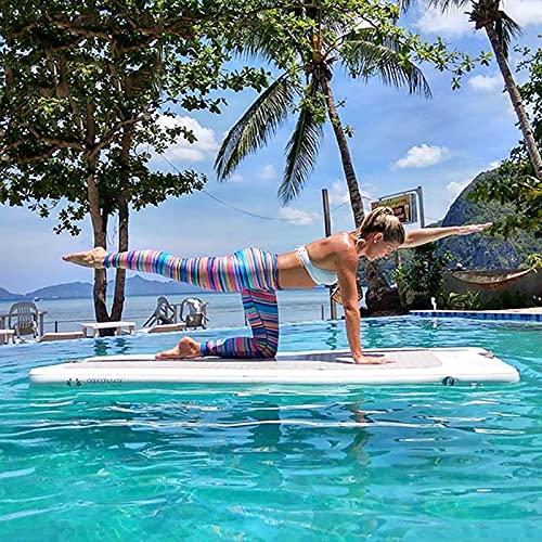 LANHA Schwimmende Plattform, Wasser Aufblasbares Yoga Pad Mit Antirutschkissen Und Elektropumpe Schwimmendes Insel-Dock-floß Für Pool Beach 200 X 100 X 10 cm